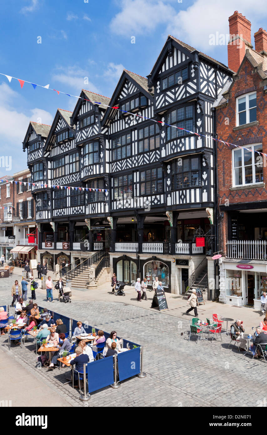 Chester town centre with covered walkways, Chester Rows, Chester, Cheshire, England, United Kingdom, Europe - Stock Image