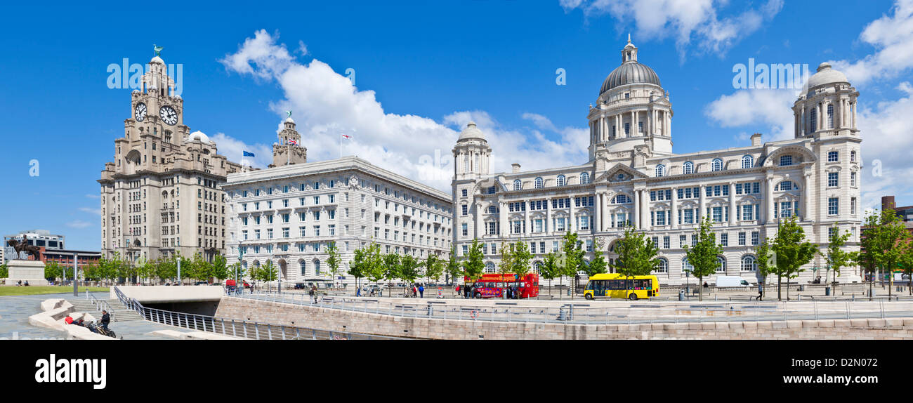 Pierhead Three Graces buildings, Liverpool Waterfront, Liverpool, Merseyside, England, UK - Stock Image