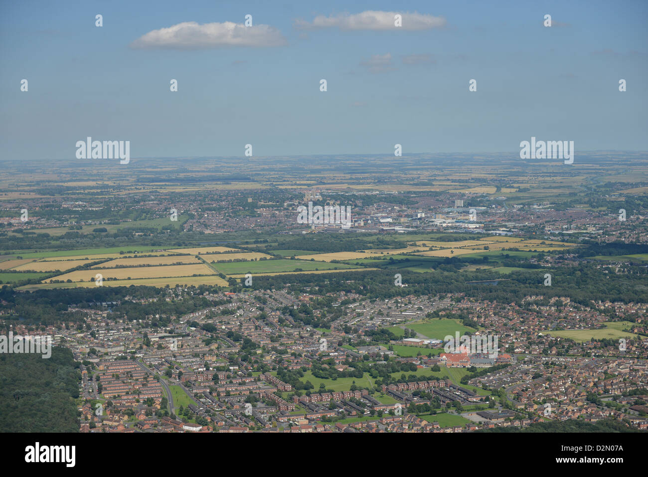 Aerial Photograph looking over suburbs of Lincoln - Stock Image