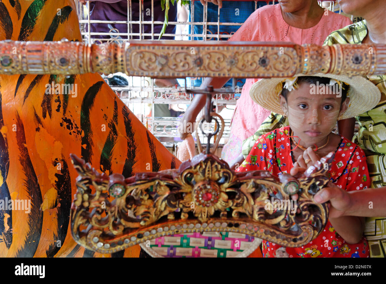 The biggest Nat ritual, Festival of Spirits, Taungbyon, Mandalay Division, Republic of the Union of Myanmar (Burma), - Stock Image