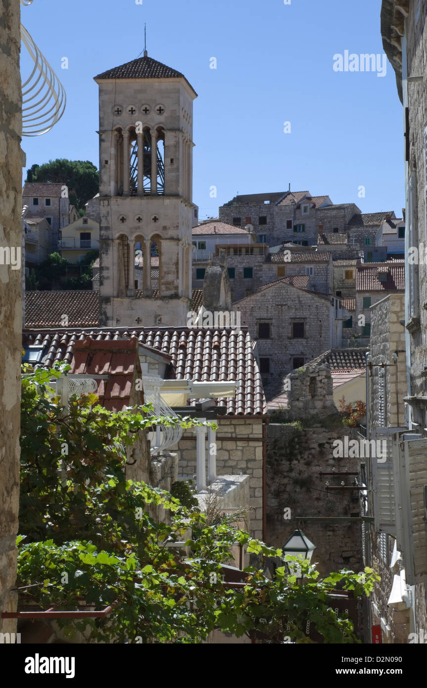 Rooftop view of the bell tower of St. Stephens Cathedral in the medieval city of Hvar, island of Hvar, Dalmatia, - Stock Image