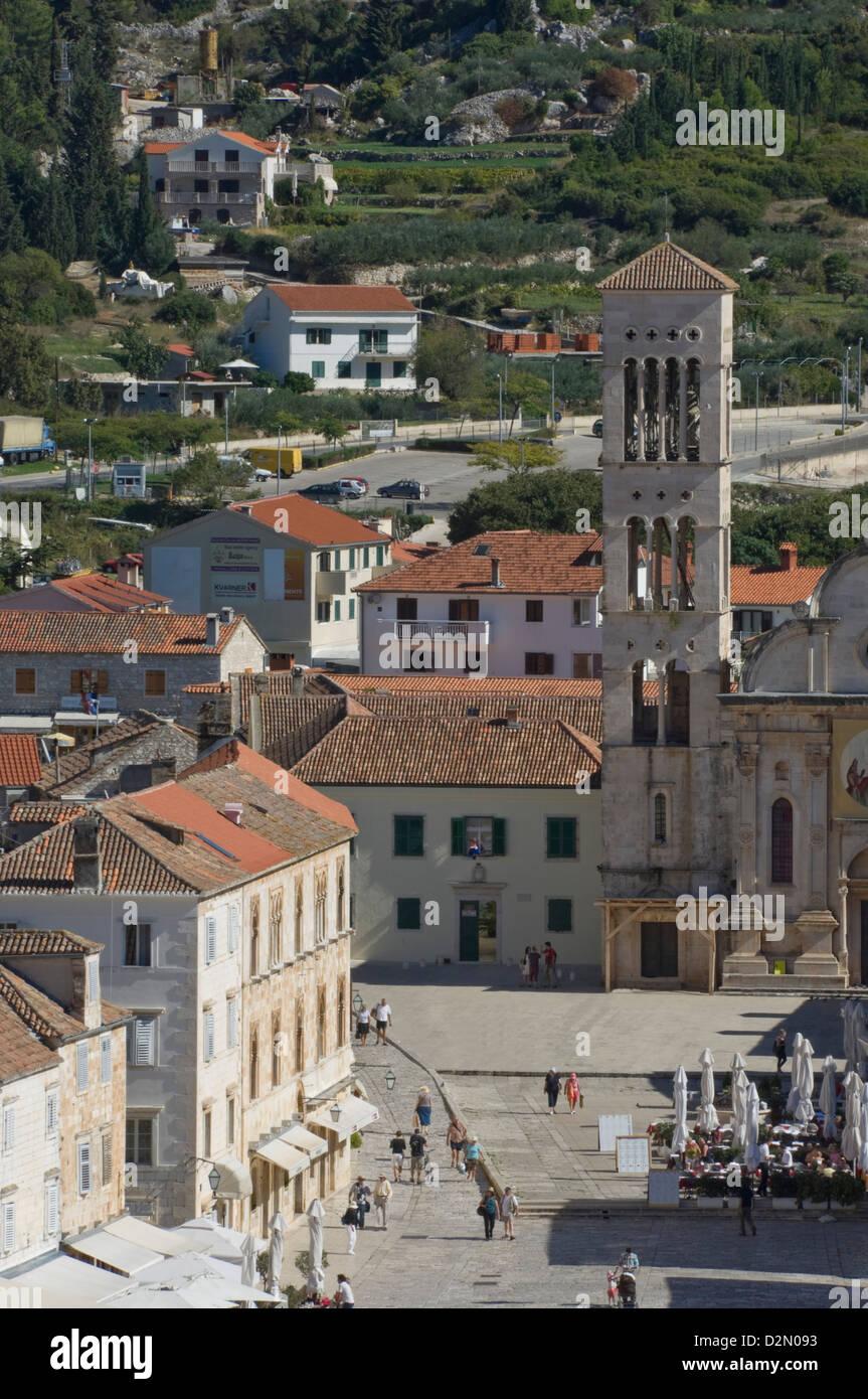 St. Stephens Cathedral, Medieval city of Hvar, island of Hvar, Dalmatia, Croatia, Europe - Stock Image