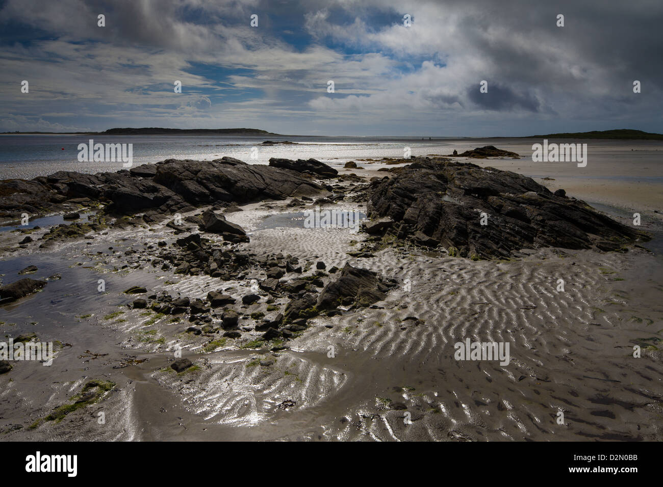 Sandy beach and rocks in North Uist in the Outer Hebrides - Stock Image