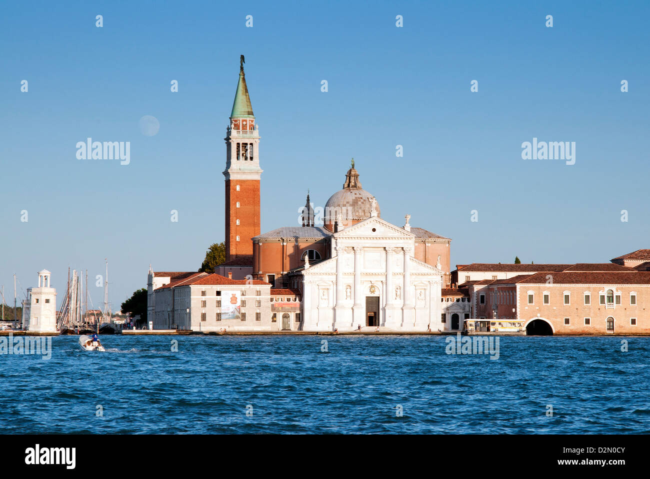 View from quay at St. Mark's Square to San Giorgio Maggiore Island, Venice, UNESCO World Heritage Site, Veneto, - Stock Image