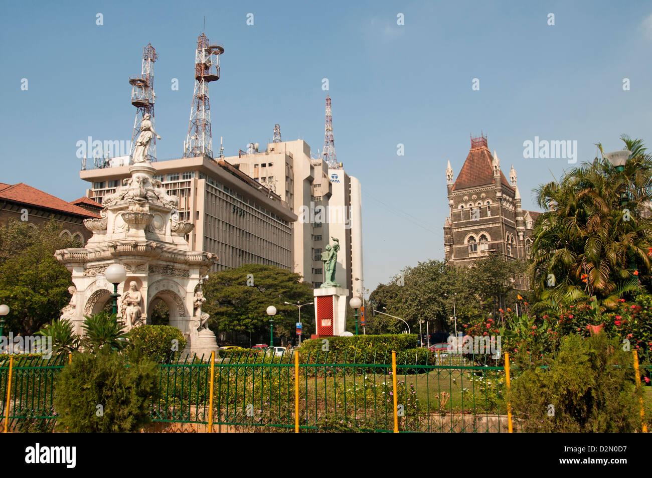 Mumbai Fort ( Bombay ) India Flora Fountain  Mahatma Gandhi -  MG Road Fort - Stock Image