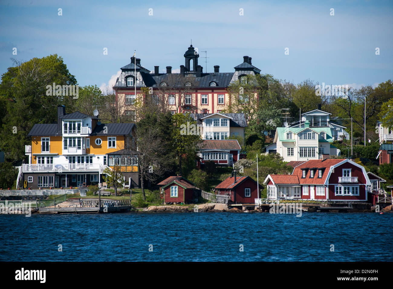 Built-up area with family houses around an old military installation on the island of Rindö in Vaxholm Stockholm - Stock Image