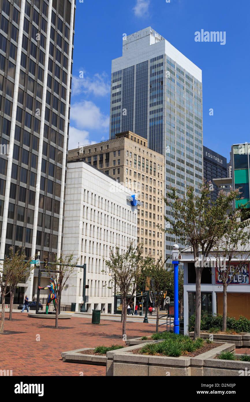Skyscrapers on Peachtree Street, Atlanta, Georgia, United States of America, North America - Stock Image