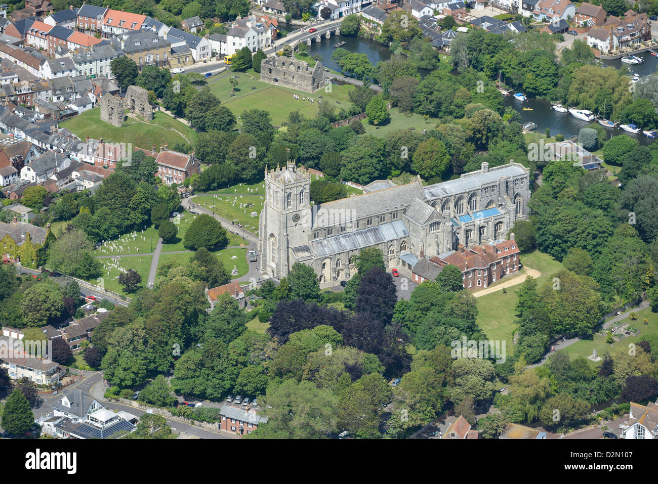 Aerial photograph of Christchurch Priory - Stock Image