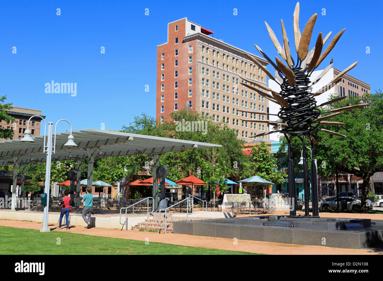 Points of View sculpture by James Surls in Market Square Park, Houston, Texas, United States of America, North America - Stock Image