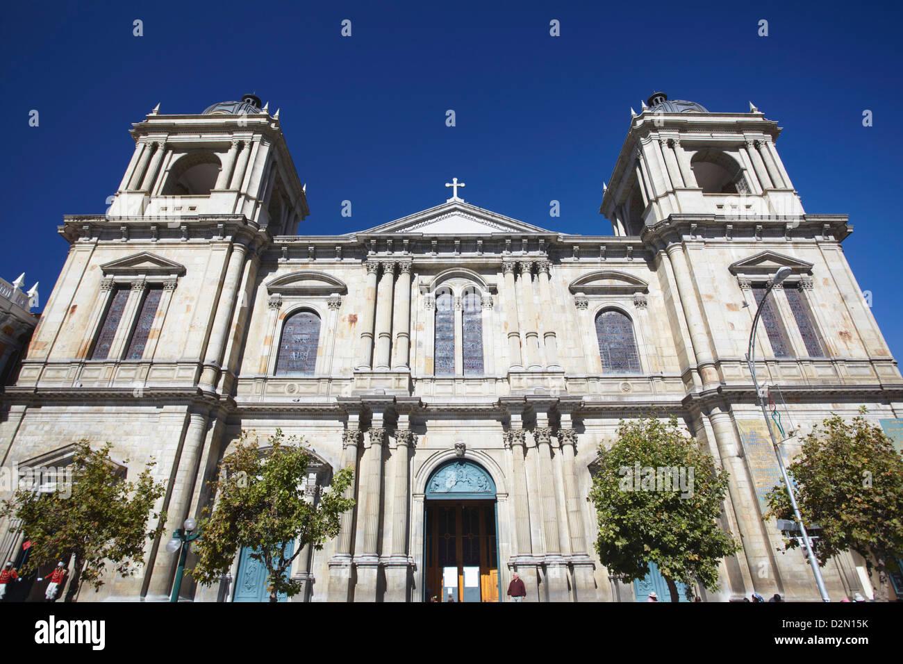 Cathedral in Plaza Pedro Murillo, La Paz, Bolivia, South America - Stock Image
