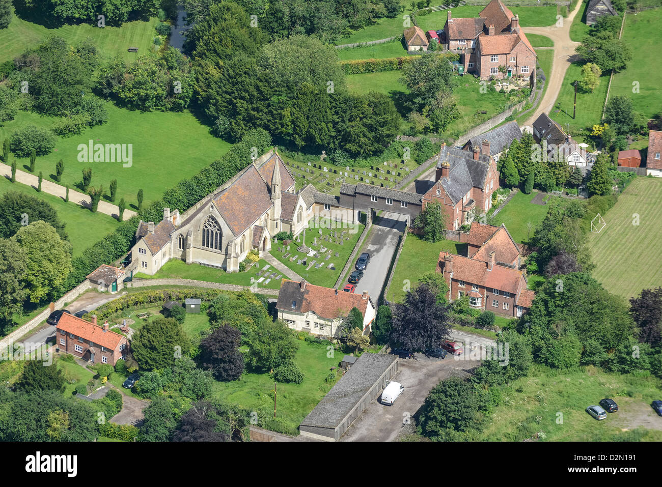 Aerial photograph of West Hendred Catholic Church - Stock Image
