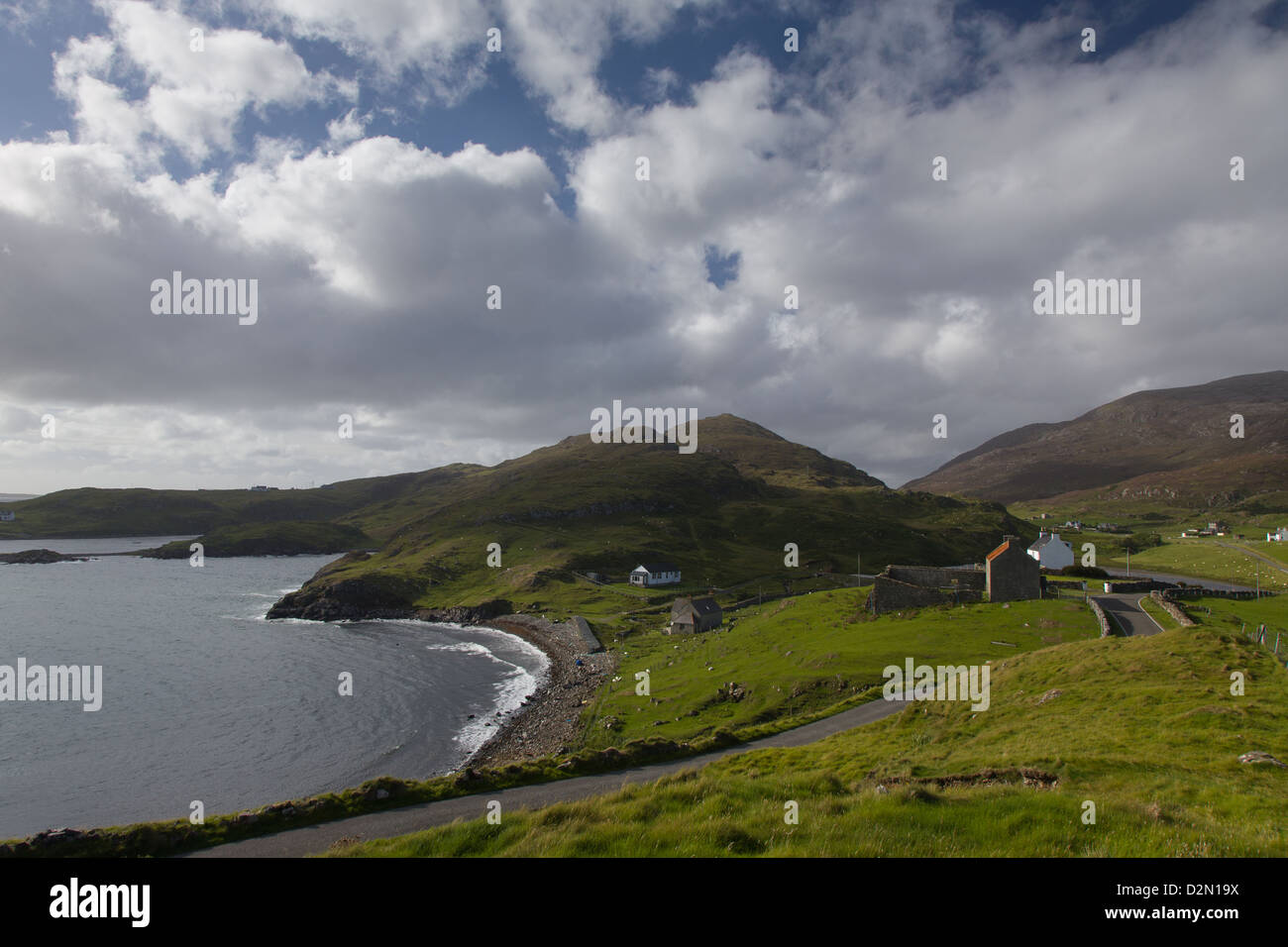 The Mountains and road in Roghadel in the Outer Hebrides - Stock Image