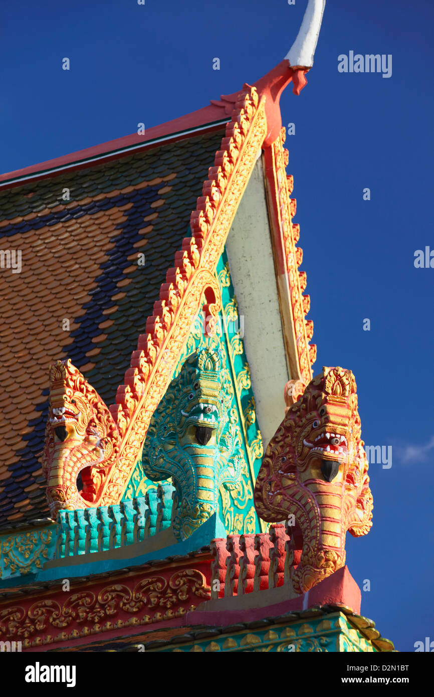 Details of roof of Wat Han Chey, Kampong Cham, Cambodia, Indochina, Southeast Asia, Asia - Stock Image