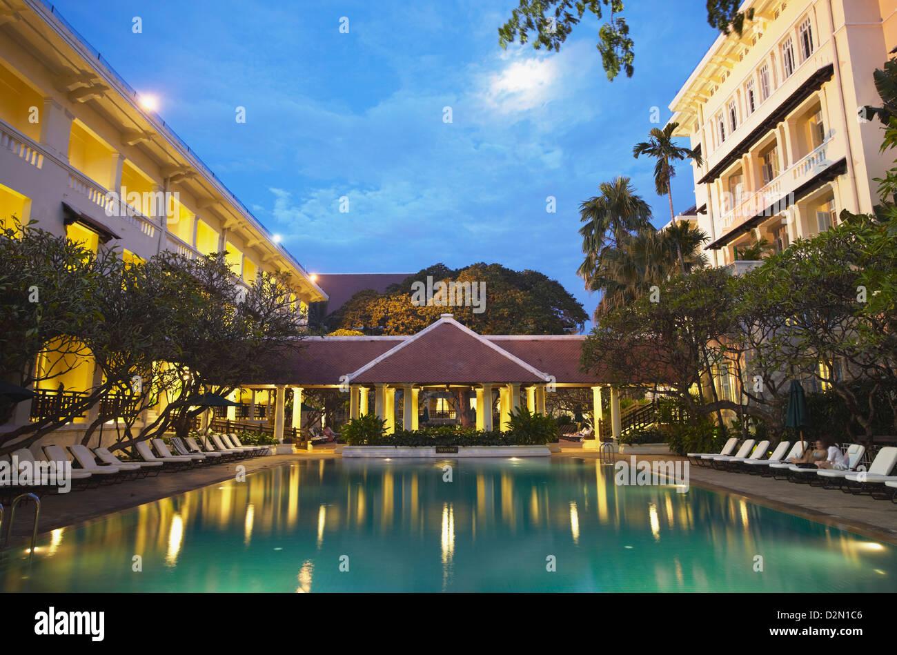 Pool area of Raffles Hotel Le Royal, Phnom Penh, Cambodia, Indochina, Southeast Asia, Asia - Stock Image