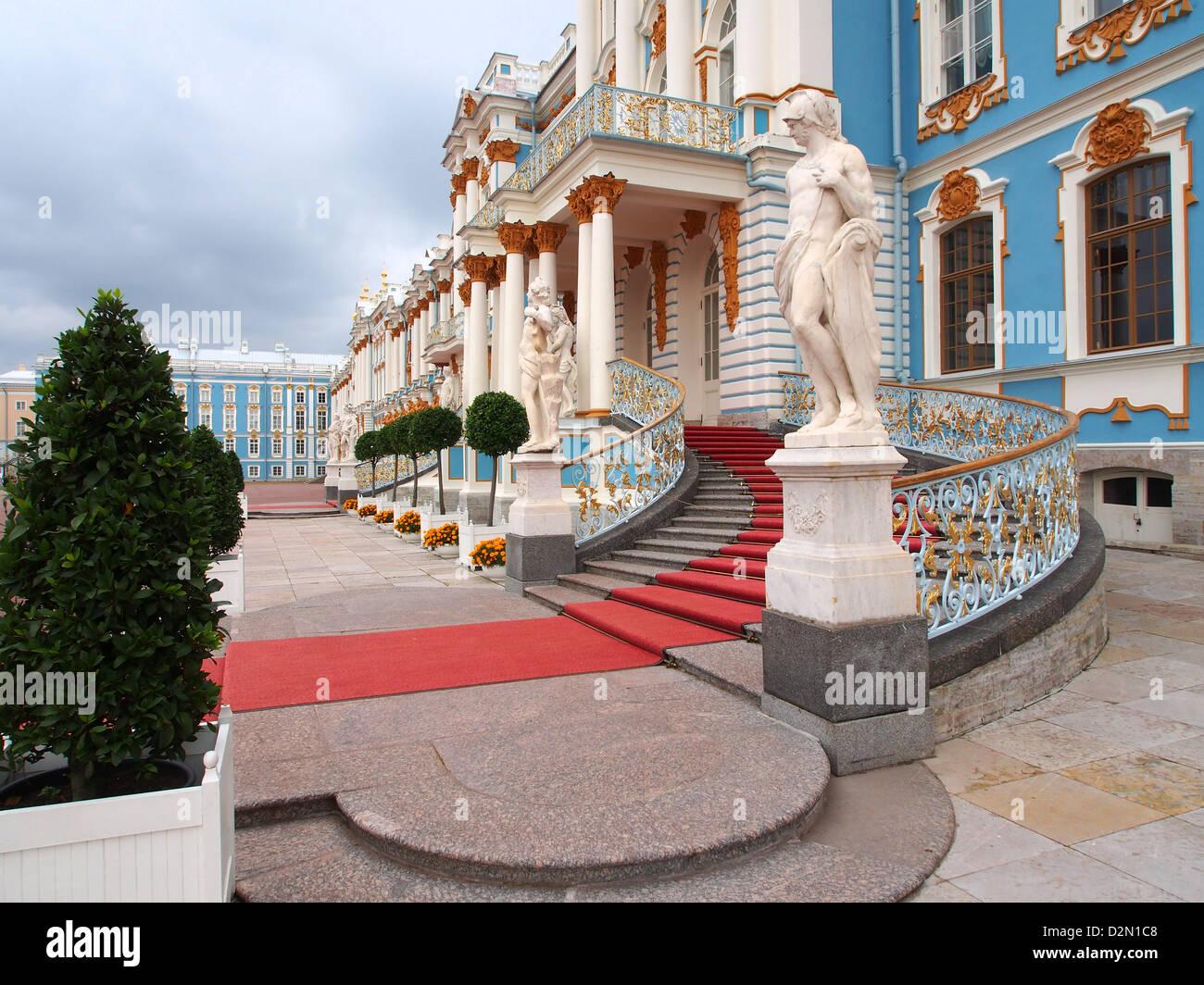West end, Catherine Palace, Tsarskoye Selo (Pushkin), near St. Petersburg, Russia, Europe - Stock Image