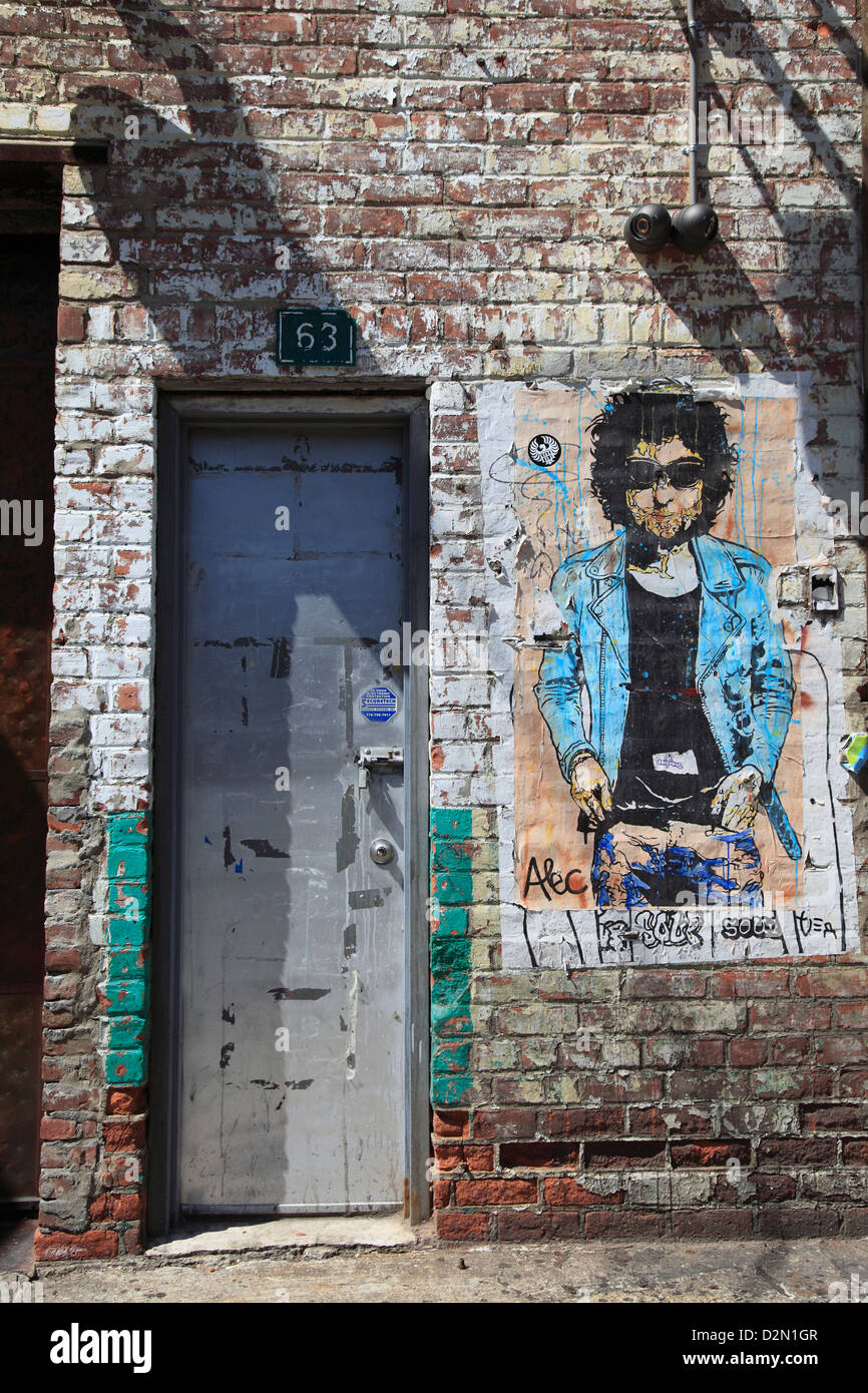 Bob Dylan, street art, Meatpacking District, Manhattan, New York City, United States of America, North America - Stock Image