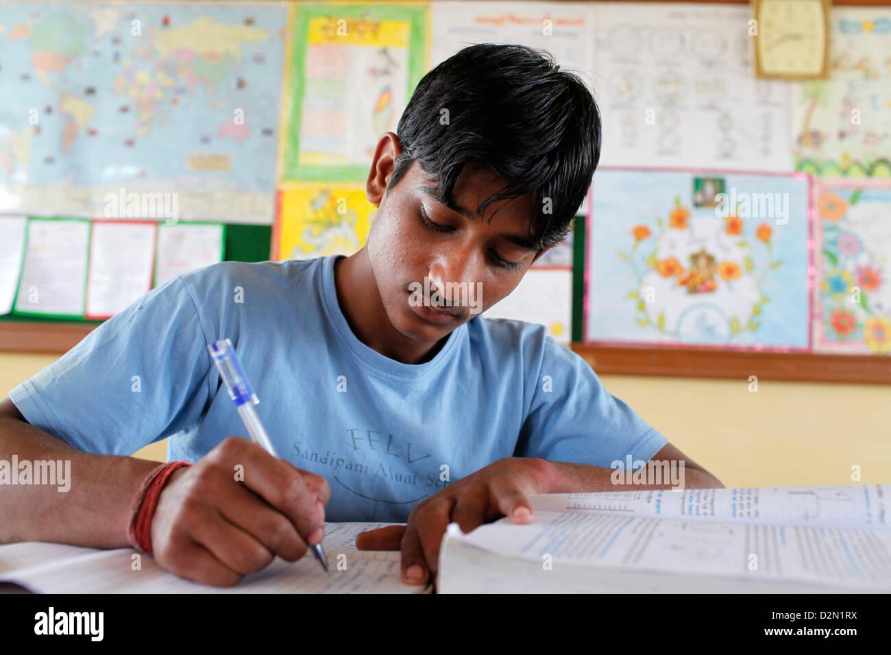 Sandipani Muni high school student, Vrindavan, Uttar Pradesh, India, Asia - Stock Image