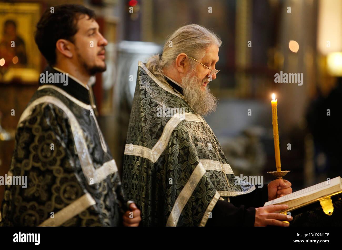 Russian Orthodox Mass, Kazan cathedral, St. Petersburg, Russia, Europe - Stock Image