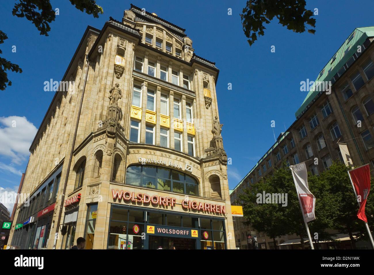 Ornate facade of building where Spitalerstrasse and Moenckebergstrasse meet Barkhof in the shopping heart of Hamburg, - Stock Image