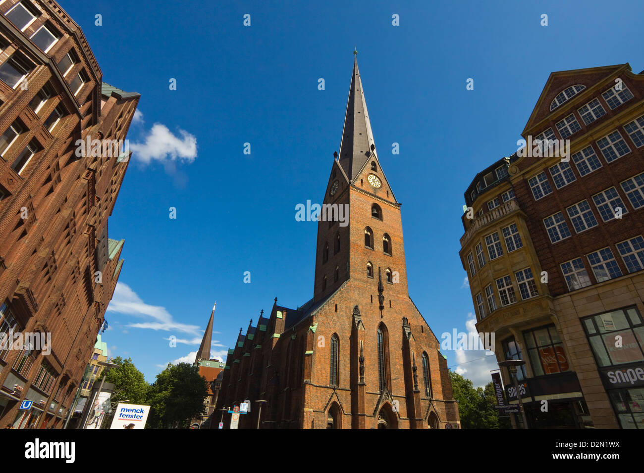 St. Peter's Cathedral, rebuilt several times since the 11th century, on Moenckebergstrasse and Bergstrasse, - Stock Image