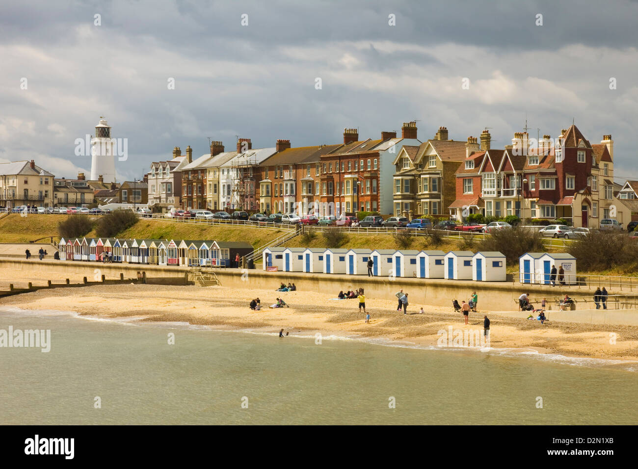 Seafront of this town with the lighthouse, North Parade and the famously pricey beach huts, Southwold, Suffolk, - Stock Image
