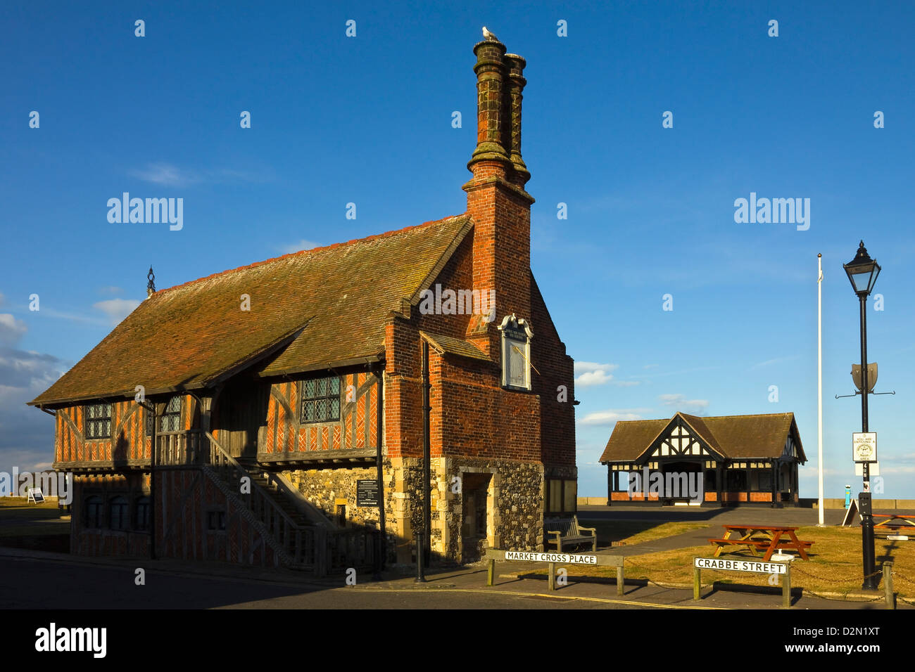 Moot Hall, a Grade I listed building, formerly a meeting hall, now a museum, Aldeburgh, Suffolk, England, UK - Stock Image