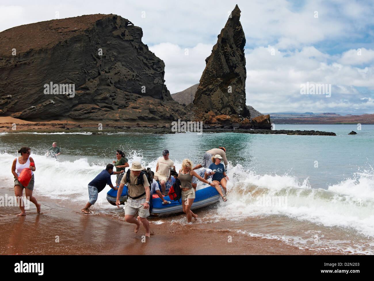 wet landing, vulcanic landscape of Isla Bartolome, Galapagos Islands, Ecuador - Stock Image