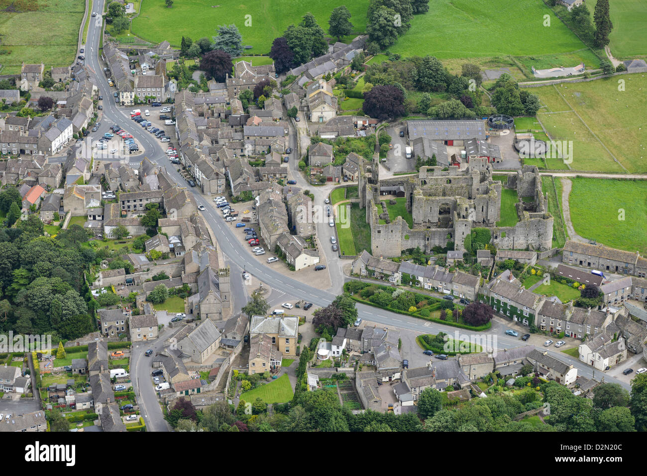 Aerial photograph of Leyburn North Yorkshire - Stock Image