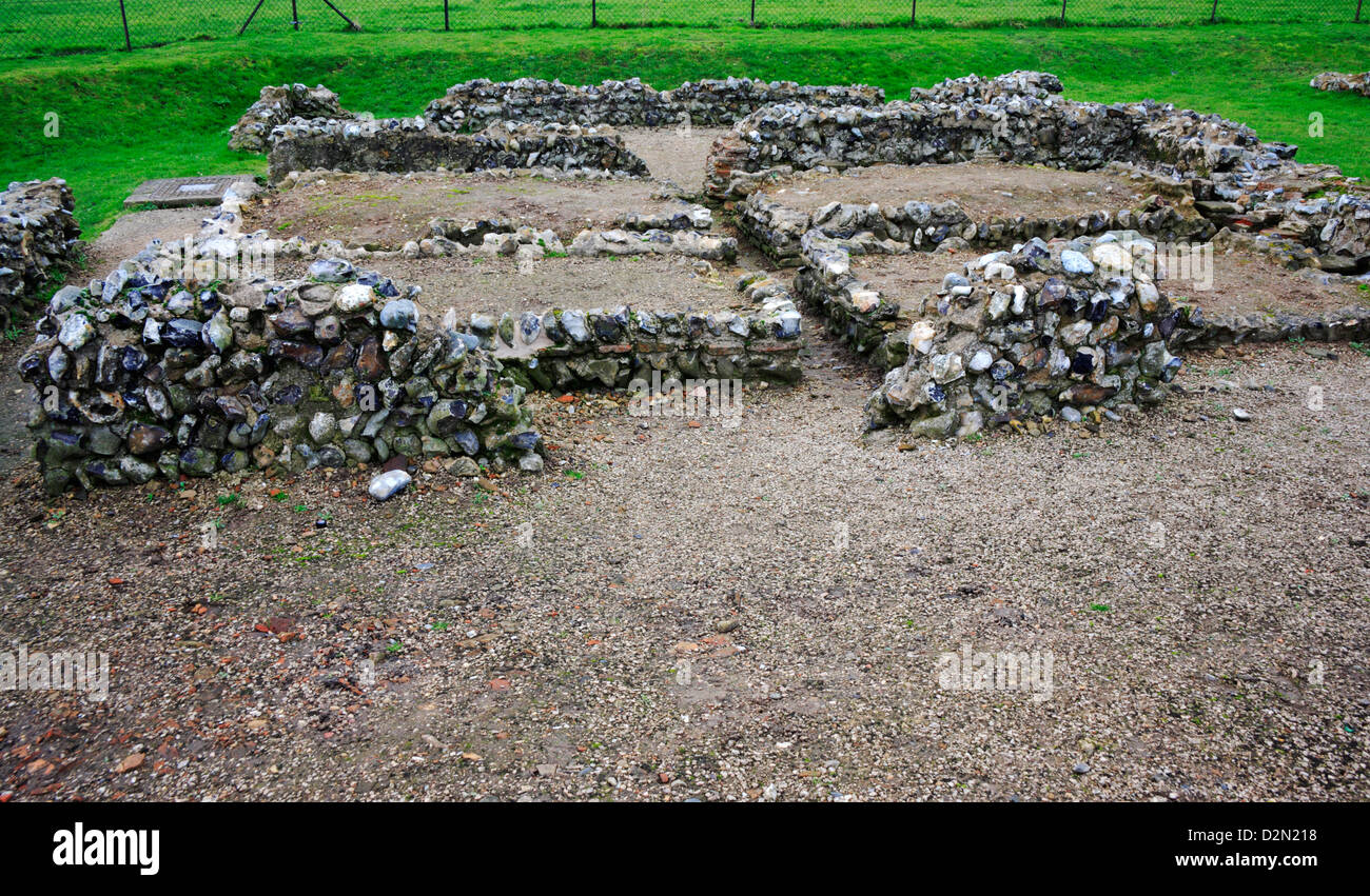 A view of excavated remains of a Roman town at Caister-on-Sea, Norfolk, England, United Kingdom. Stock Photo