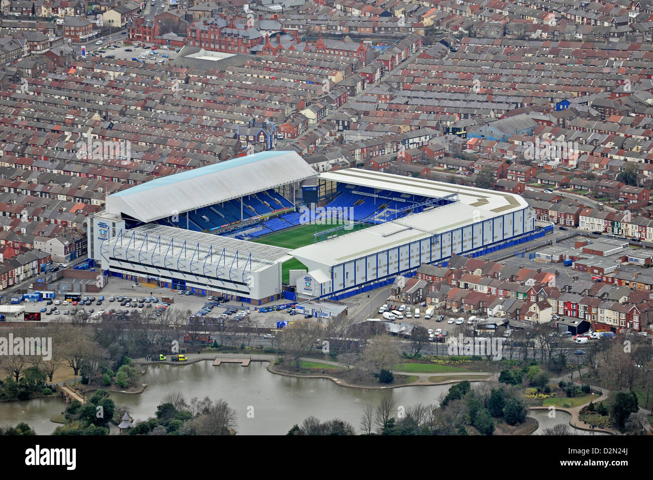Aerial photograph of Goodison Park and surroundings Stock Photo