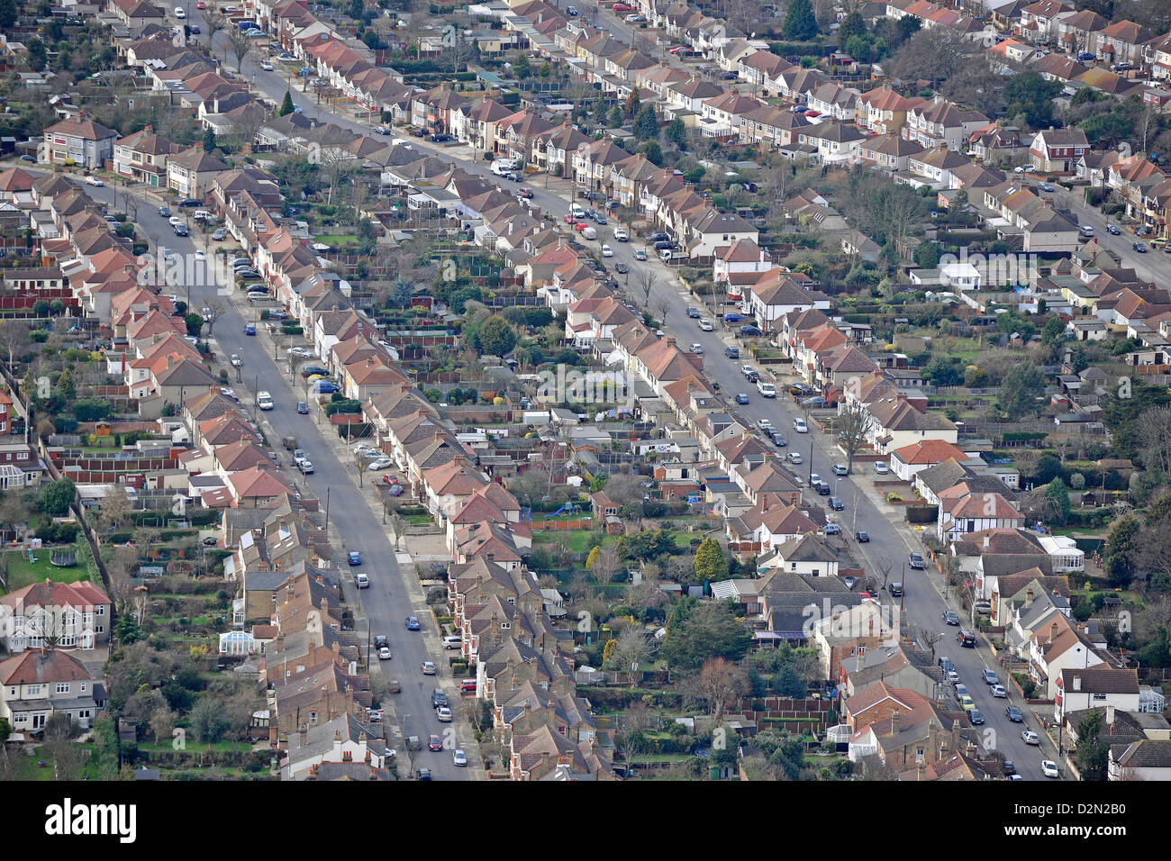 Aerial Photograph of Suburban Housing in the UK - Stock Image