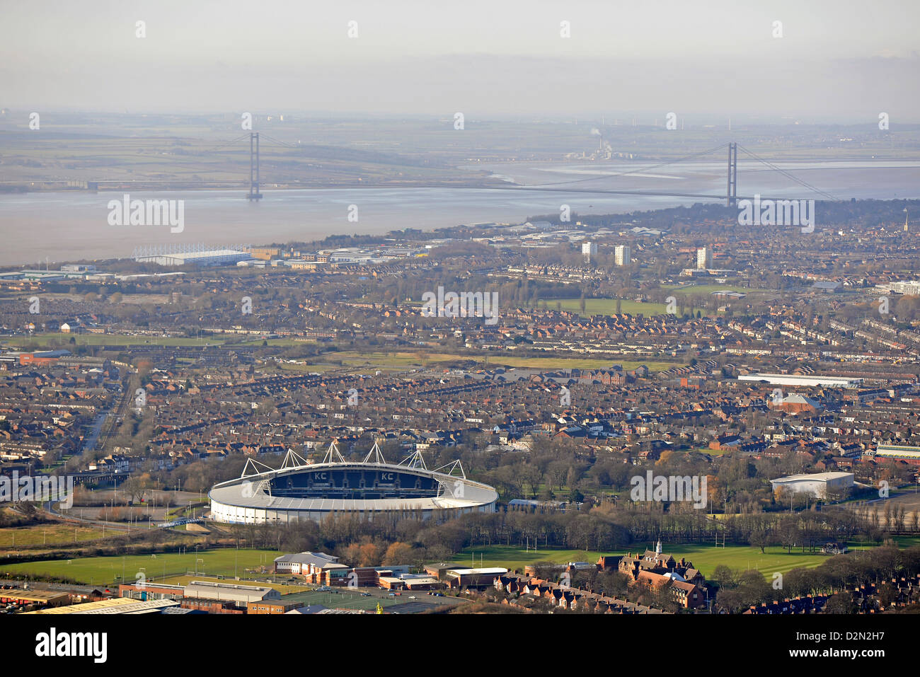 Aerial photograph showing Hull, Hull City FC and the Humber Bridge - Stock Image