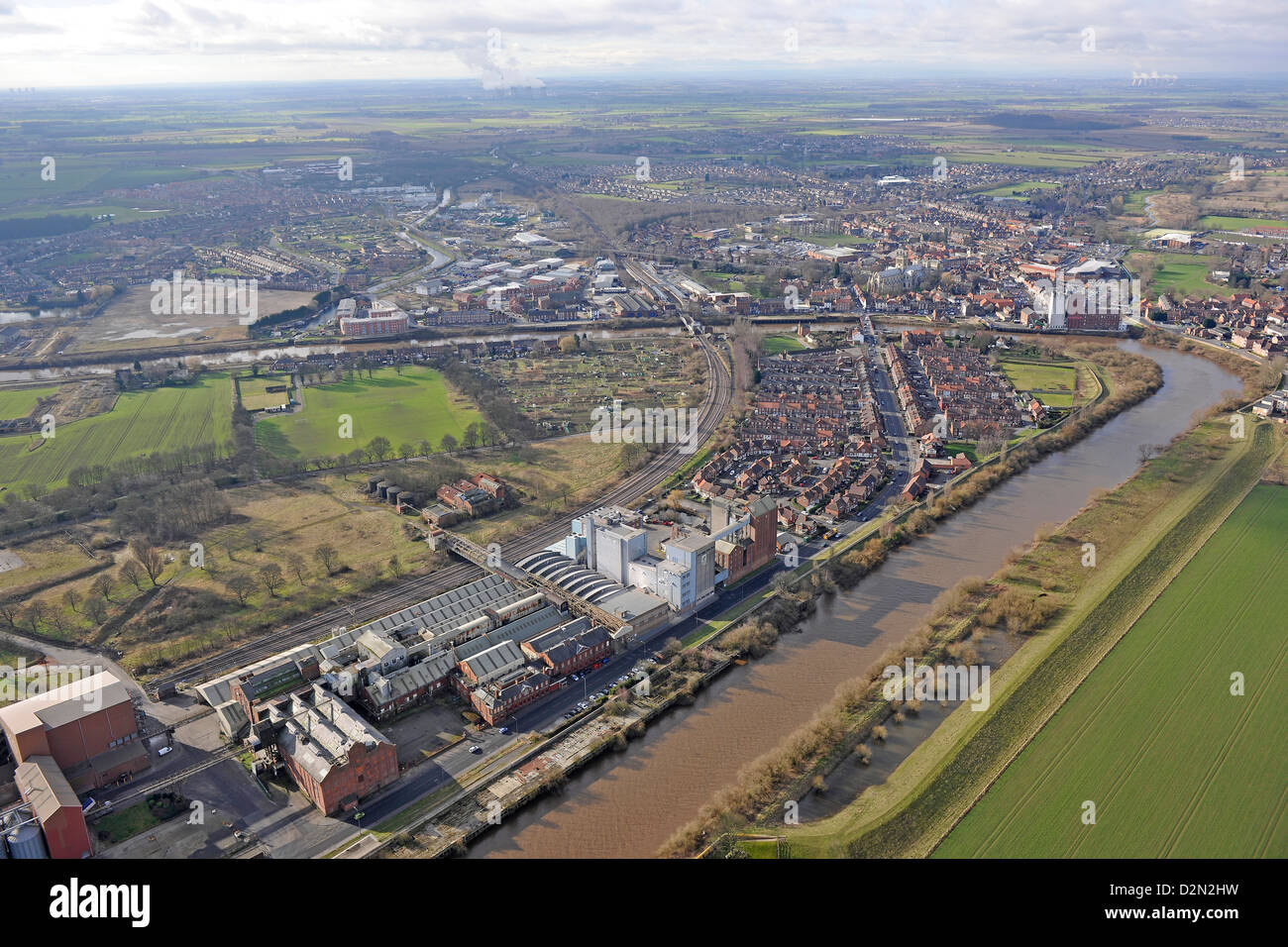 Aerial photograph showing Selby from the river - Stock Image