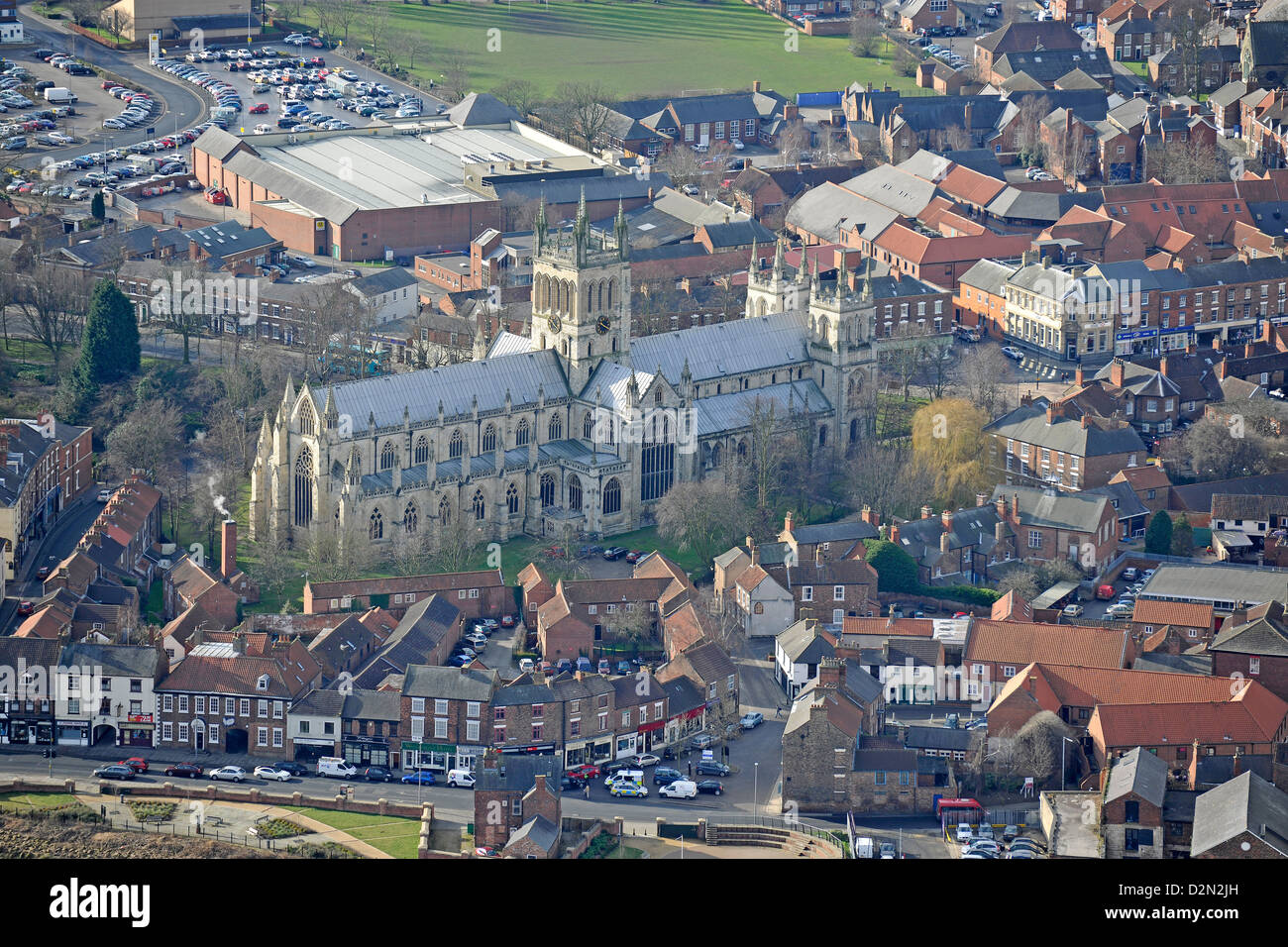 Aerial photograph of Selby Abbey and Surroundings - Stock Image