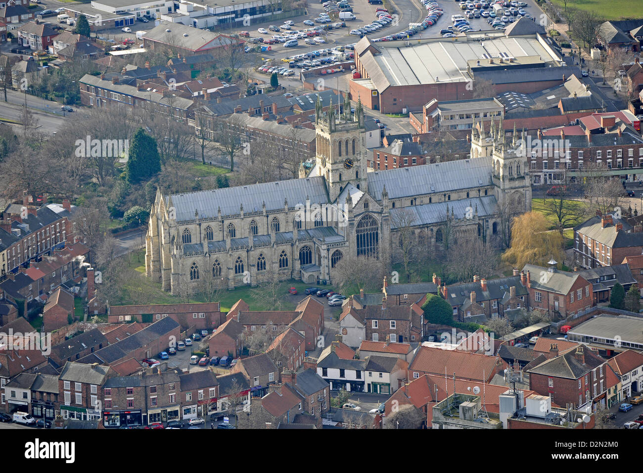 Aerial photograph of Selby Abbey - Stock Image