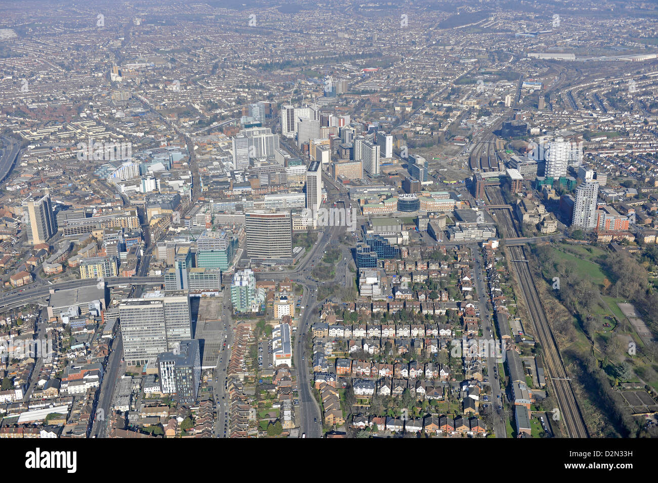 Aerial photograph of Croydon town centre - Stock Image