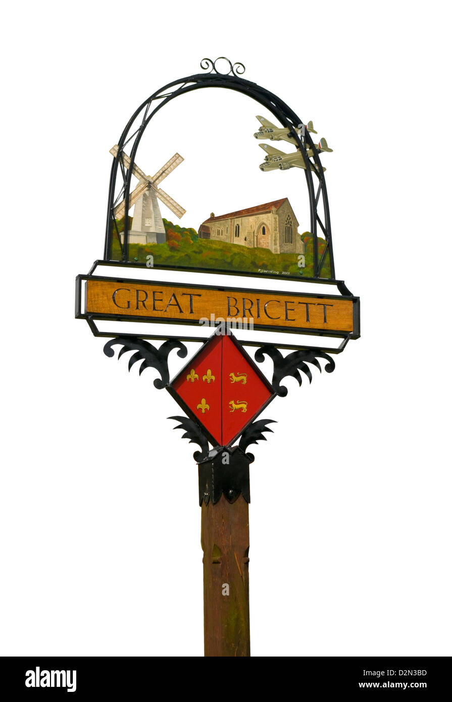 The Village Sign Great Bricett Suffolk - Stock Image