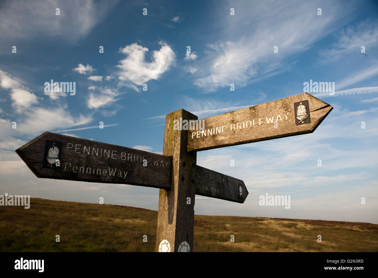 Waymarkers and way sign for Pennine  Bridleway at Standedge near Marsden - Stock Image