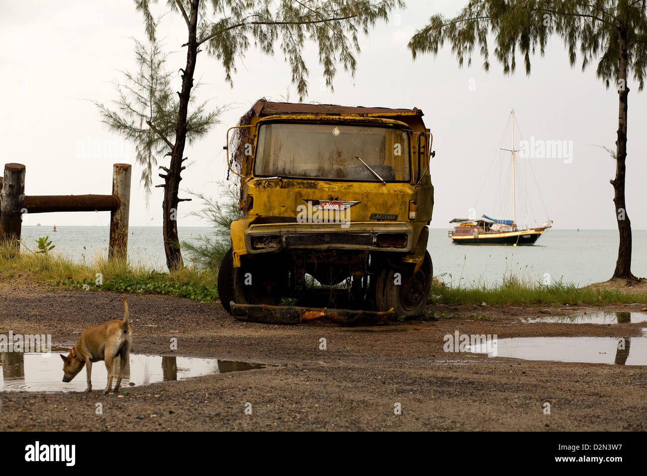 A dog and a broken down truck at Thong Sala , Koh Phangan , Thailand - Stock Image
