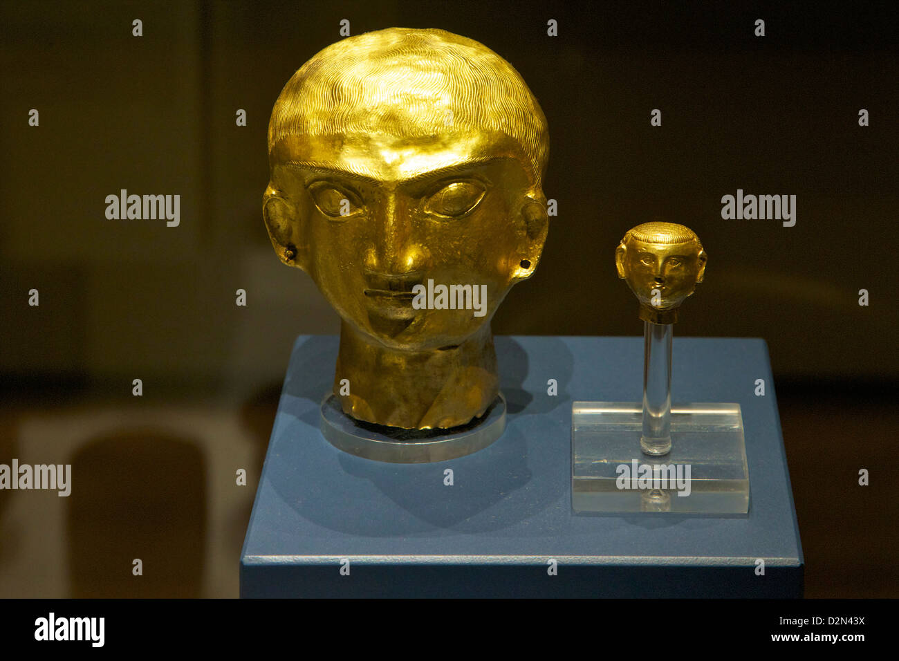 Gold heads, Oxus Treasure, 4th-5th century, BC, British Museum, London, England, UK, GB, British Isles - Stock Image