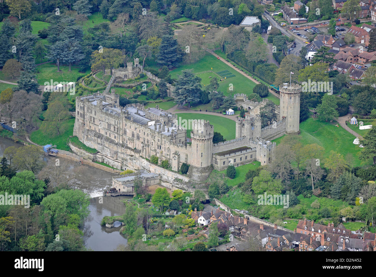 Aerial photograph of Warwick Castle - Stock Image