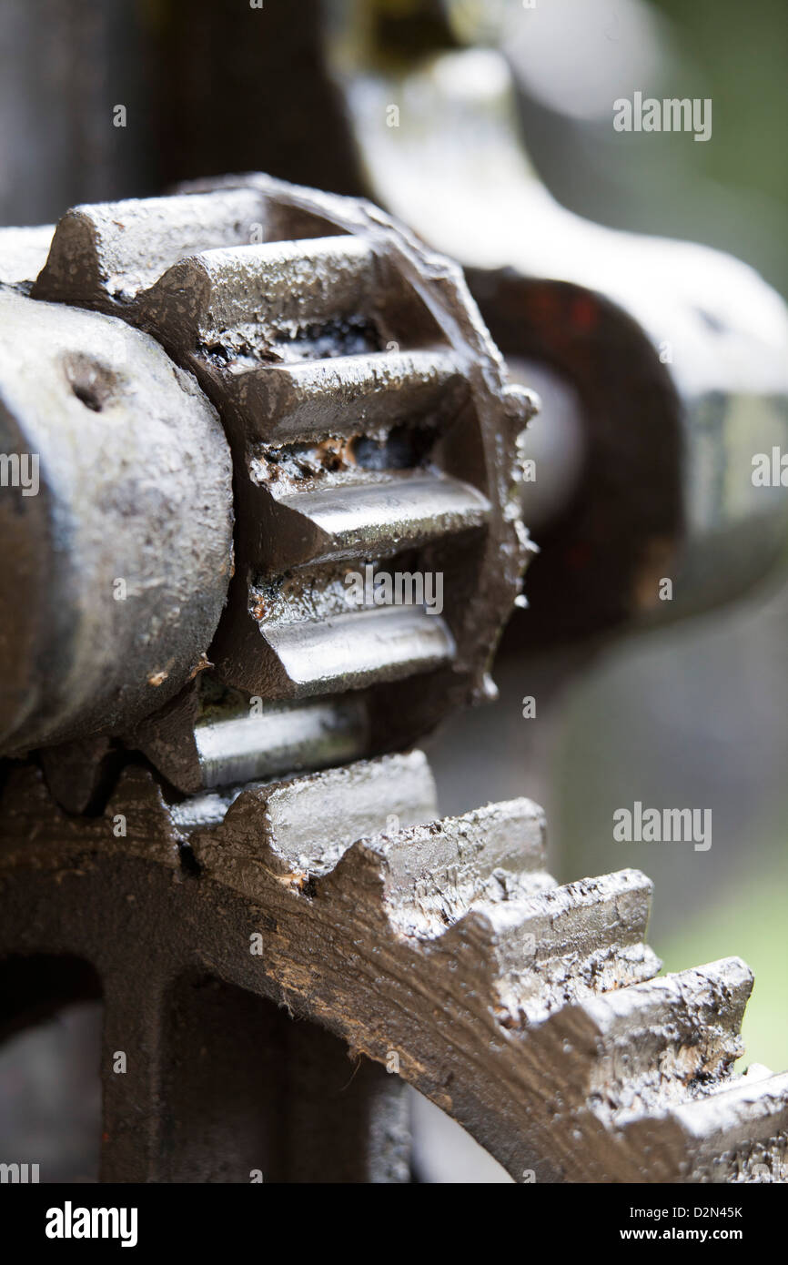 Canal Lock Gates Mechanism on the Huddersfield Narrow Canal  near Uppermill in Saddleworth - Stock Image