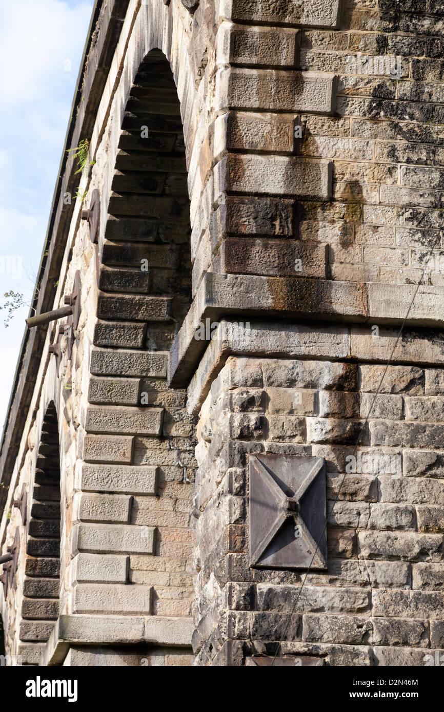 Stonework on Victorian Railway Viaduct at Uppermill Saddleworth - Stock Image