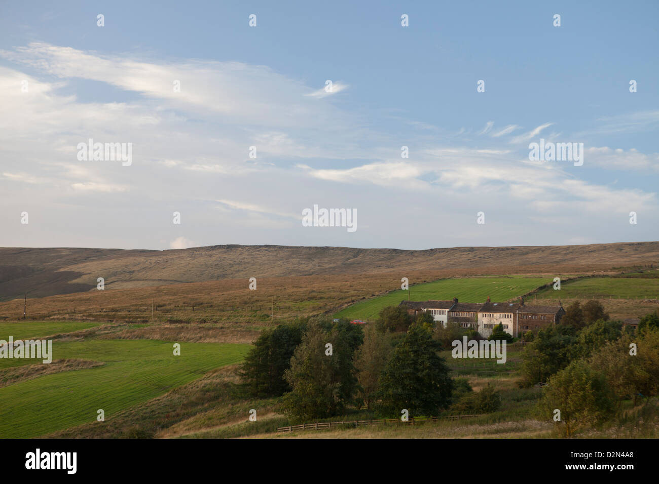 Traditional Pennine weavers cottages near below Standedge between Delph and Marsden in Saddleworth - Stock Image