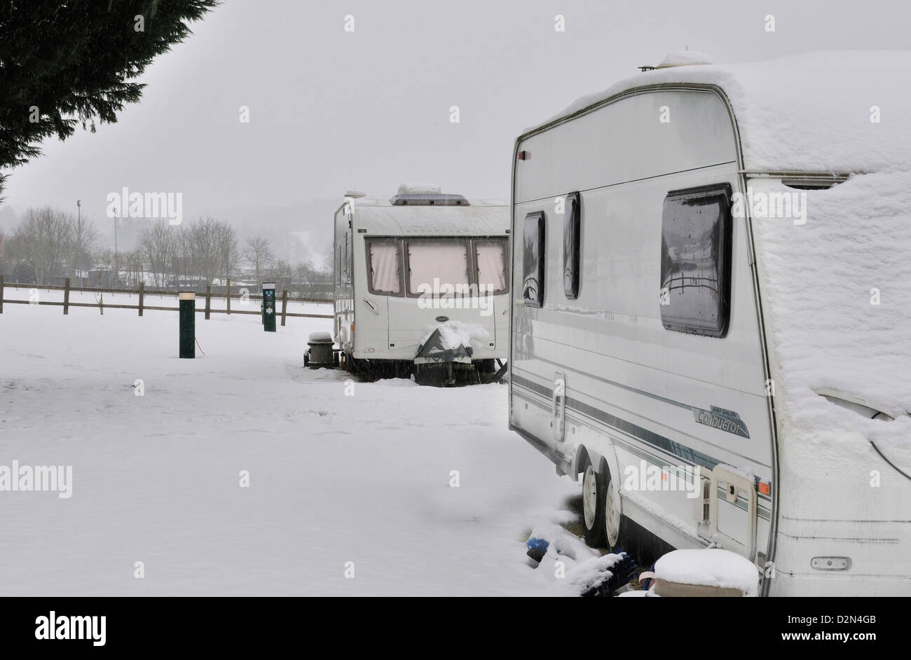 Caravans in an all season caravan park photographed during january's snow fall, - Stock Image