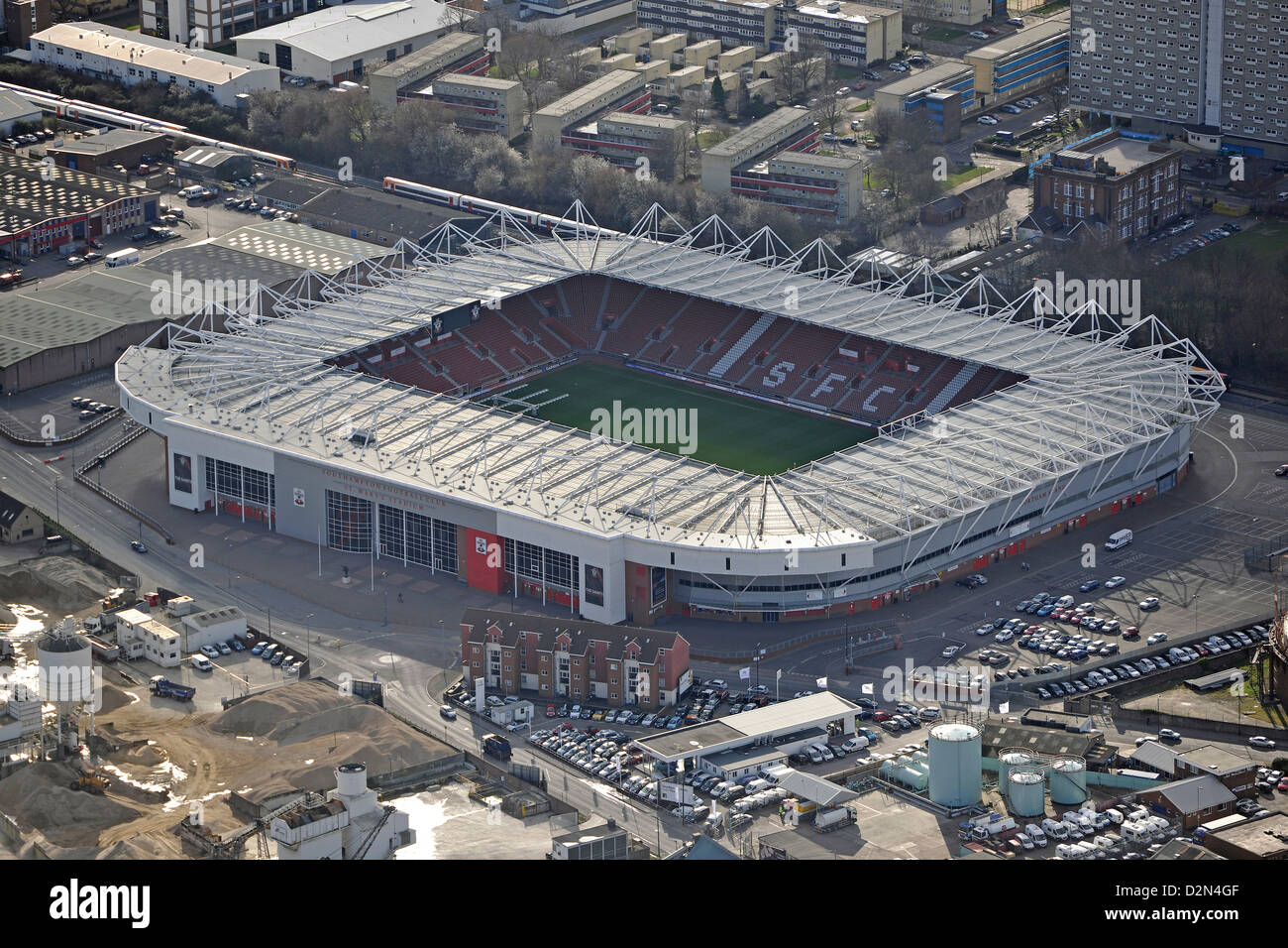 Aerial photograph of Southampton Football Club - Stock Image