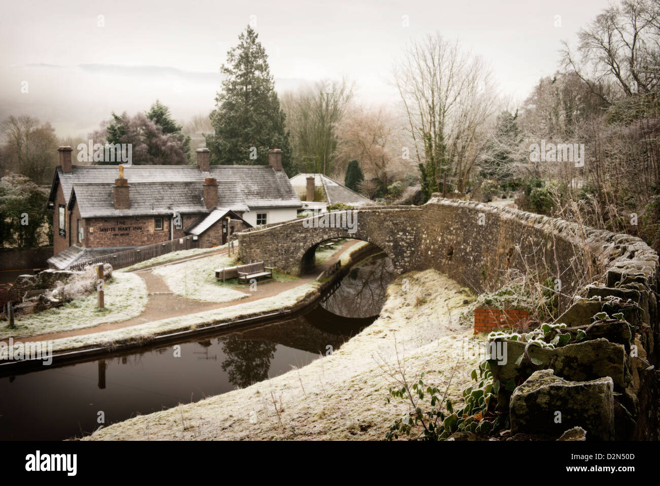 Brecon canal at Talybont on Usk, Powys, Wales, UK - Stock Image