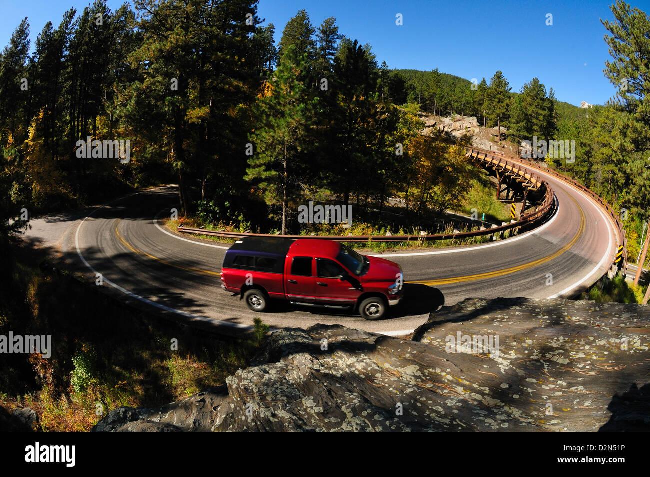 Car on the turn, Mount Rushmore, South Dakota, United States of America, North America - Stock Image