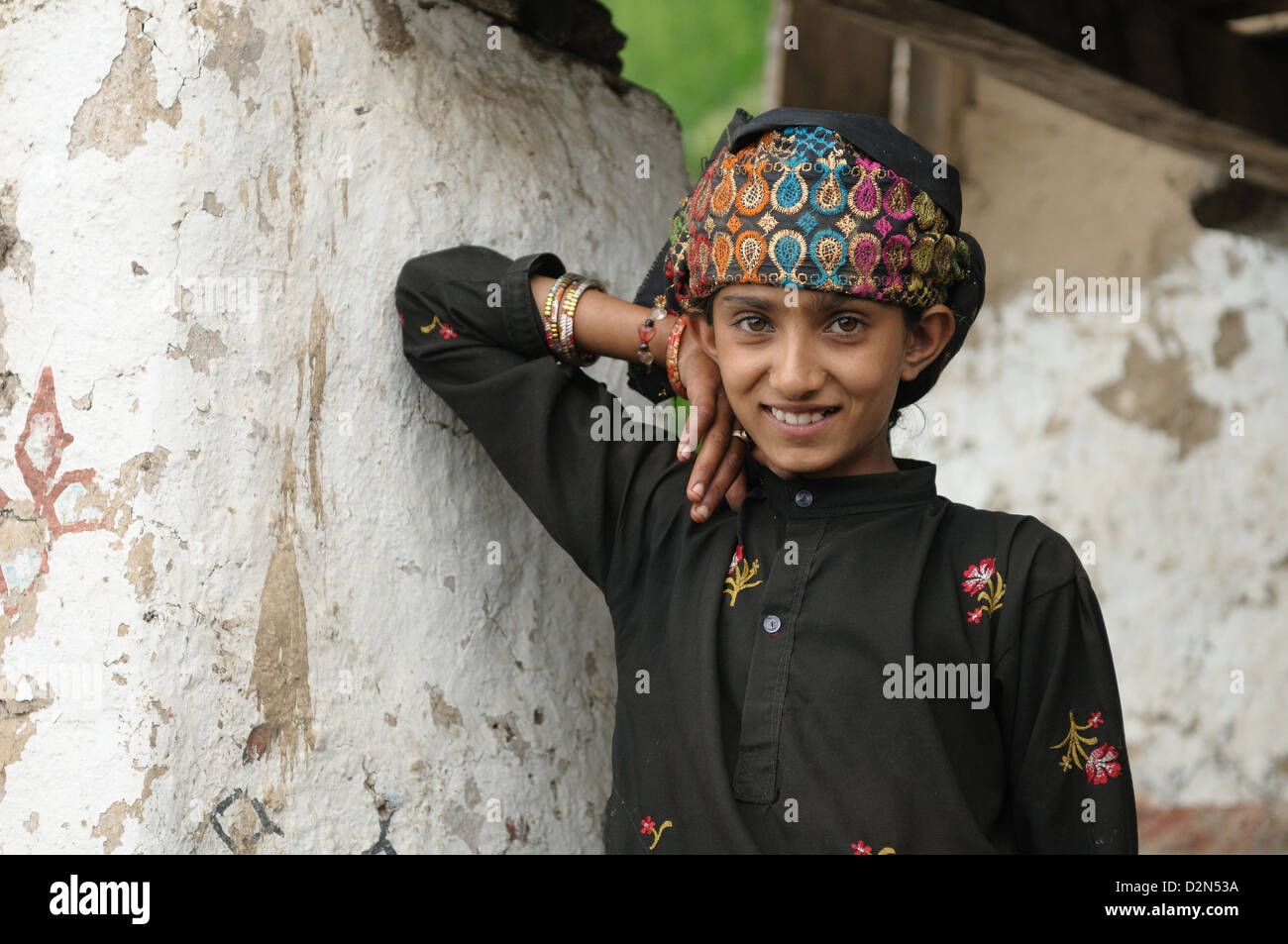 Gujjar girl, Sahoo, Chamba, Himachal Pradesh, India, Asia - Stock Image