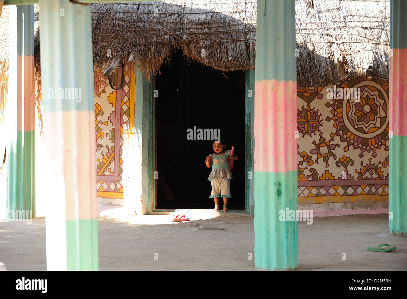 Traditional courtyards of Gujjar families, Gujarat, India, Asia - Stock Image